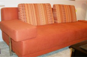 Sofa orange nach Polsterreinigung